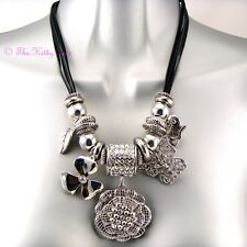 Designer Silver Rhodium Crystal 3D Rose Flower Butterfly Charms Catwalk Necklace