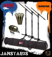 3pk Shure SM58-LC Mics, Stands, Cables Gator GX-33 Case! Free US 48 State Ship!