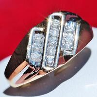 Vintage handmade 10k multi tone gold 0.50ct natural diamond size 11 ring