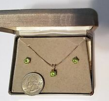 18 KT Gold over Sterling Silver Genuine Green Peridot Necklace Earring Set SWEET