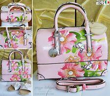 NEU ♡ Große Tasche Perlen-Schmetterling-Strass-Blüten Schultertasche Italy Rosa