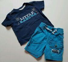 Baby Boys Llittle Kahuna Shirt Shorts Size 3-6 Month Blue  Crazy 8 OshKosh