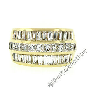 FINE 18K Gold 5.76ctw 3 Row Princess & Baguette Diamond Wide Statement Band Ring