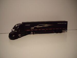 DCP FIRST GEAR 1/64 BLACK FREIGHTLINER CASCADIA W/T SLEEPER&CORVETTE DRY VAN