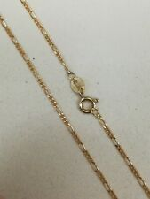18kt yellow gold figaro chain solid 3 sizes