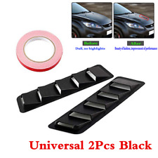 2Pcs Black ABS Universal Car Bonnet Hood Vent Window Louver Cooling Panel Trim