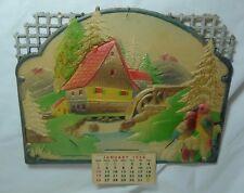 Vintage Embossed Die Cut Calendar 1958 Made in Western Germany Water Mill