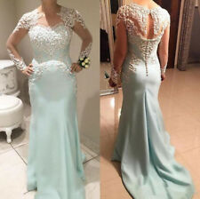 Mother of the Bride Dresses Appliques Evening Gown Long Sleeve Sheer Sleeve 4-30