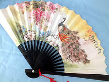 CHINESE PEACOCK BIRD WHITE BLACK PAPER HAND FAN JAPANESE BIRTHDAY WEDDING PARTY