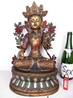 "original alter Buddha ""WEIßE TARA"" Bronze bemalt graviert Tibet vor 1960  47cm"