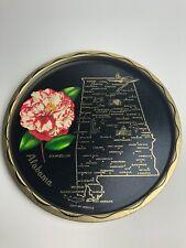 US Alabama State Black Round Metal Vintage Souvenir Serving Tray Platter Barware