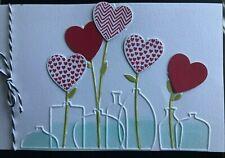 Stampin Up Retired, 2 PATTERNED HEART Stamps & VASES Embossing Folder Valentines