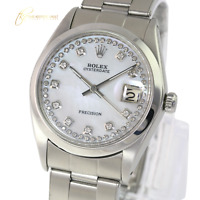 Rolex Oyster Date Precision Steel  White MOP String  Diamond Dial 34mm Watch