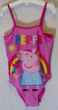 Girls Peppa Pig Pink Rainbow Holiday Swimming Costume Swimsuit Age 6-7 Years