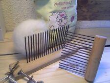 Wollkamm Wollkämme gedrechselt Kardierbürste Handkarde Tischstation