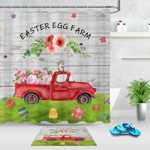 Easter Eggs Rabbit  Red Retro Truck Floral Shower Curtain Set Bathroom Decor 72""