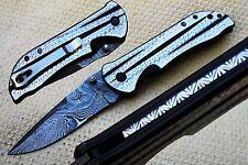 "3.2""Damascus Blade Custom made Folding Knife/Liner Lock,FileWork,Clip-US-CH-17"