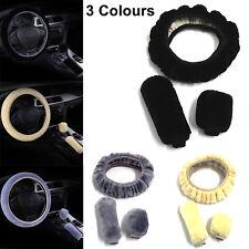 3Pcs/Set Soft Plush Wool Steering Wheel Cover Furry Fluffy Car Accessory Black
