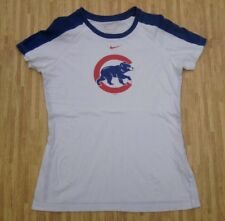 Chicago Cubs Nike White MLB Baseball Shirt ~ Women's Small S Loose Fit ~ SS