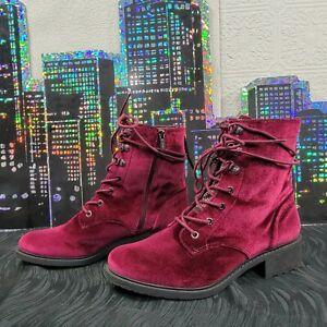 Womens Sam Edelman Circus-Malbec Wine Combat Boots-Size 10 WIDE Punk Rock Goth