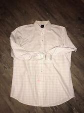 Mens Jos A Bank Travelers Collection Check White Spread Collar Shirt 17.5 x 36