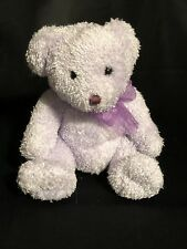 Purple Lavender Teddy Bear Stuffed Animal Toy with Ribbon EUC Sparkly Soft Plush