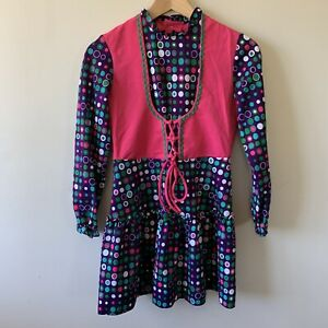 Vintage Embassy Dress Size 12 Girls Colourful Bright Retro Partern Tunic Dress