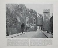 1896 LONDON PRINT WITH DESCRIPTIVE TEXT THE TOWER OF LONDON ~ BLOODY TOWER