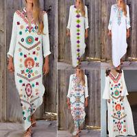 Summer Women Long Sleeve Boho Cotton Casual Linen Kaftan Maxi Dress Long Dresses