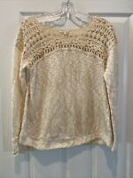 Anthropologie Meadow Rue Size M Cream Embroidered Long Sleeve Top Shirt R7 EUC