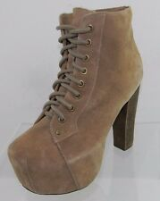 Women's Jeffrey Campbell Lita Beige Suede Ankle Boots Size 6.5 M NEW