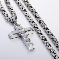 Crucifix Cross CZ Pendant Necklace for Women Men Stainless Steel Byzantine Chain