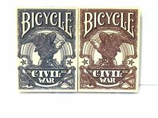 The Civil War Deck Bicycle Playing Cards Lot 2 red blue Lincoln Grant Lee Davis