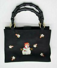 Black Snowman Winter Christmas Embroidered Handbag Purse Clutch