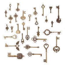 Antique Copper Key Bronze Fancy Heart Bow Pendants Retro Chic Style Keys 70 Pcs
