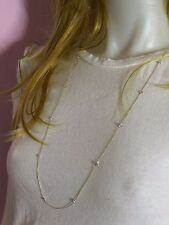 """14K Yellow Gold Cubic Zirconia Gemstone By The Yard Necklace 32"""""""