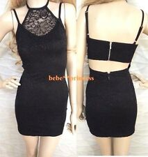 NWT bebe black overlay lace halter strappy cutout back top dress M medium club