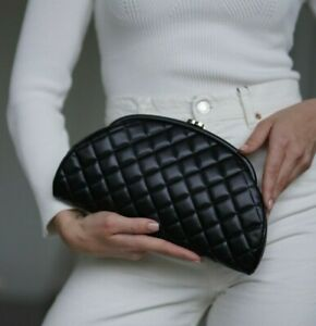 VERIFIED Authentic CHANEL Black Quilted Leather Timeless Clutch Bag