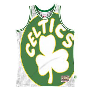 Mitchell & Ness White NBA Boston Celtics Big Face 2.0 Blownout Jersey