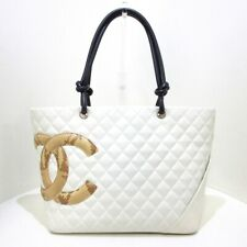 Auth CHANEL Cambon Line Large Tote A25169 White Beige Leather Tote Bag