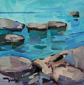 JOSE TRUJILLO Oil Painting IMPRESSIONISM ROCKS SEASCAPE SEA COLLECTIBLE ART