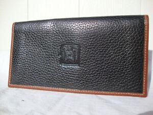 Celine Smart Black & Tan Grained Leather Signature Monogram Wallet Purse Unisex