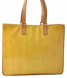 Authentic Louis Vuitton Vernis Columbus Shoulder Tote Bag Yellow M91047 LV B1969
