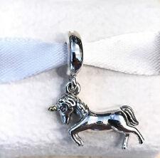 RETIRED ~ RARE Pandora 14K Gold Unicorn Charm #791200 +Pouch +Gift Packaging