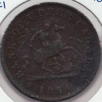 1854 -  Bank of Upper Canada - Dragon Slayer - 1 Penny - Superfleas - PC-6C1
