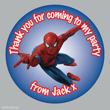 70 X Personalised Spiderman Marvel Birthday Stickers Party Bag Thank You - 277