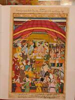 Hand Painted Mughal Maharajah Court Scene Miniature Painting India Paper Art
