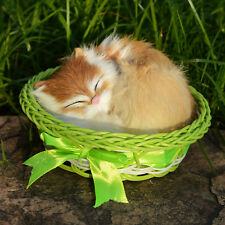 Mini Lifelike Cat Sleeping in a Basket Figurine Fur Realistic Furry Animal Decor