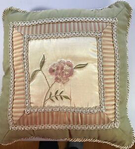 """Croscill Rosebud 17"""" sq satin & embroidered pillow sage rose ivory Excellent"""