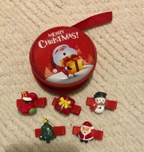 Set of 5 Children's Christmas hair clips hair pin in Christmas design SPTE box